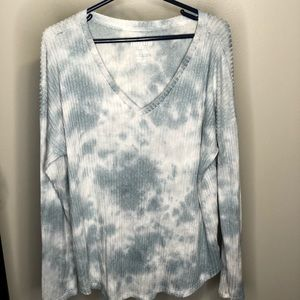 American Eagle Outfitters Tops - American Eagle Outfitters Blue White Tie Die Top